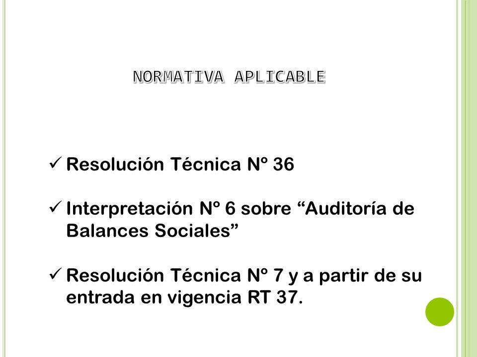 NORMATIVA APLICABLE Resolución Técnica Nº 36. Interpretación Nº 6 sobre Auditoría de Balances Sociales