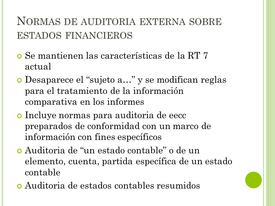 Normas de auditoria externa sobre estados financieros