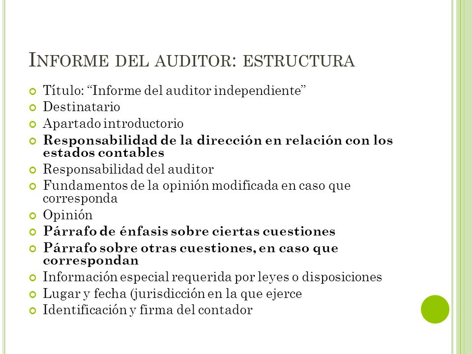 Informe del auditor: estructura