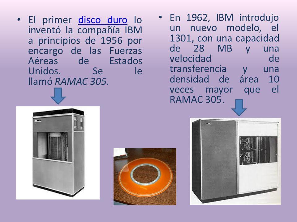 En 1962, IBM introdujo un nuevo modelo, el 1301, con una capacidad de 28 MB y una velocidad de transferencia y una densidad de área 10 veces mayor que el RAMAC 305.