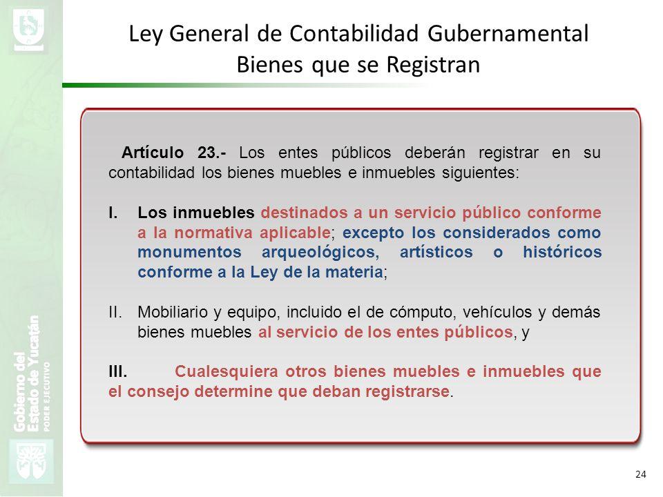 Ley General de Contabilidad Gubernamental Bienes que se Registran