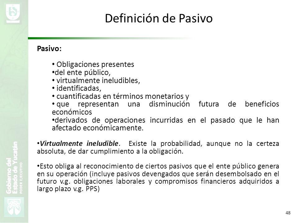Definición de Pasivo Pasivo: Obligaciones presentes del ente público,