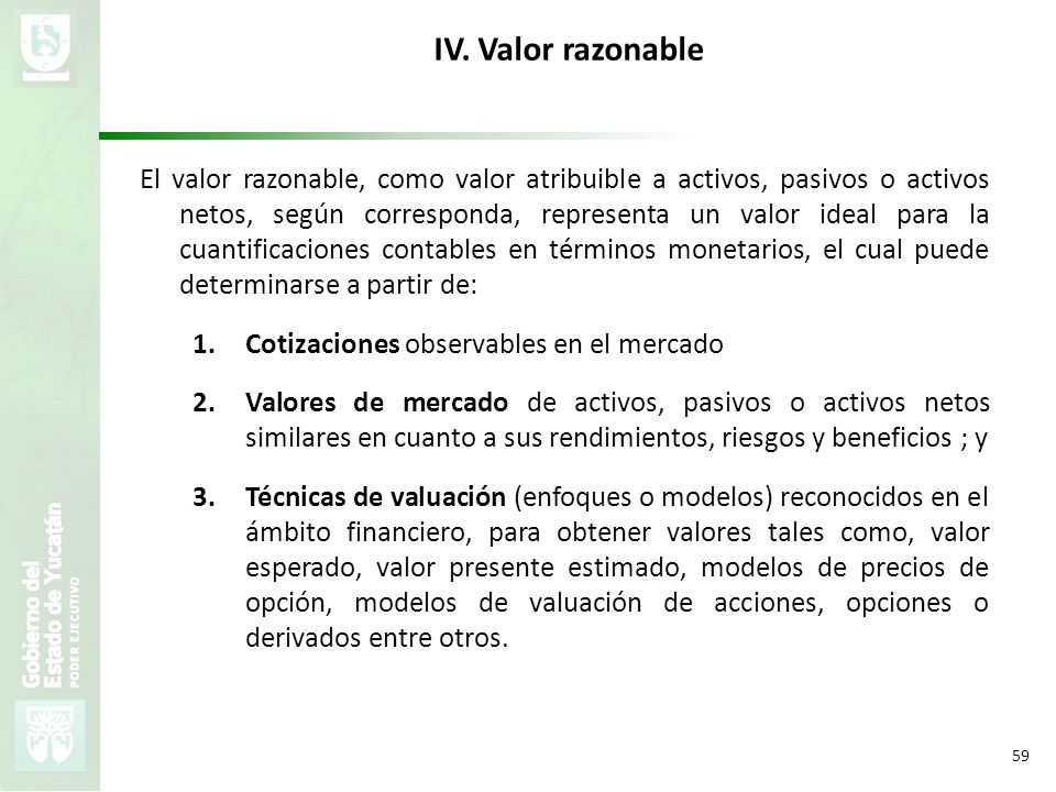IV. Valor razonable