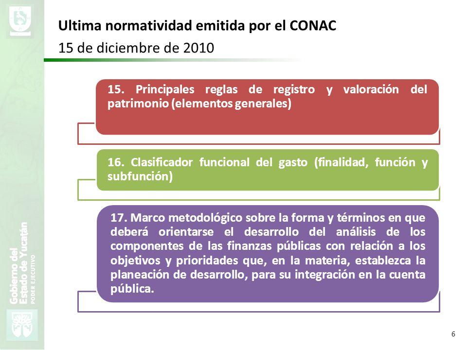 Ultima normatividad emitida por el CONAC 15 de diciembre de 2010
