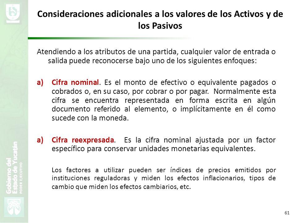 Consideraciones adicionales a los valores de los Activos y de los Pasivos