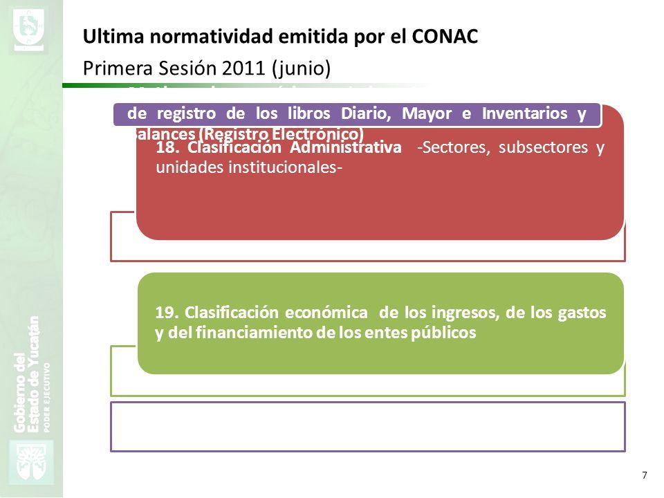 Ultima normatividad emitida por el CONAC Primera Sesión 2011 (junio)