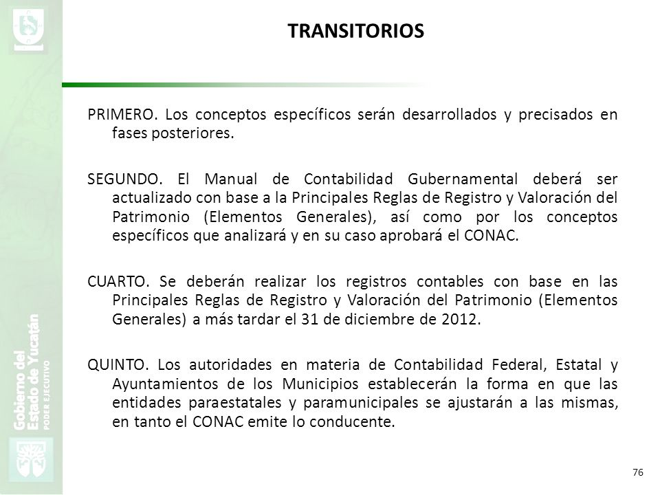 TRANSITORIOS PRIMERO. Los conceptos específicos serán desarrollados y precisados en fases posteriores.