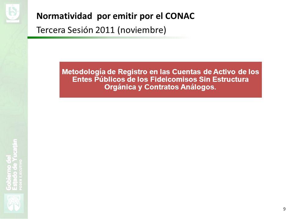 Normatividad por emitir por el CONAC Tercera Sesión 2011 (noviembre)
