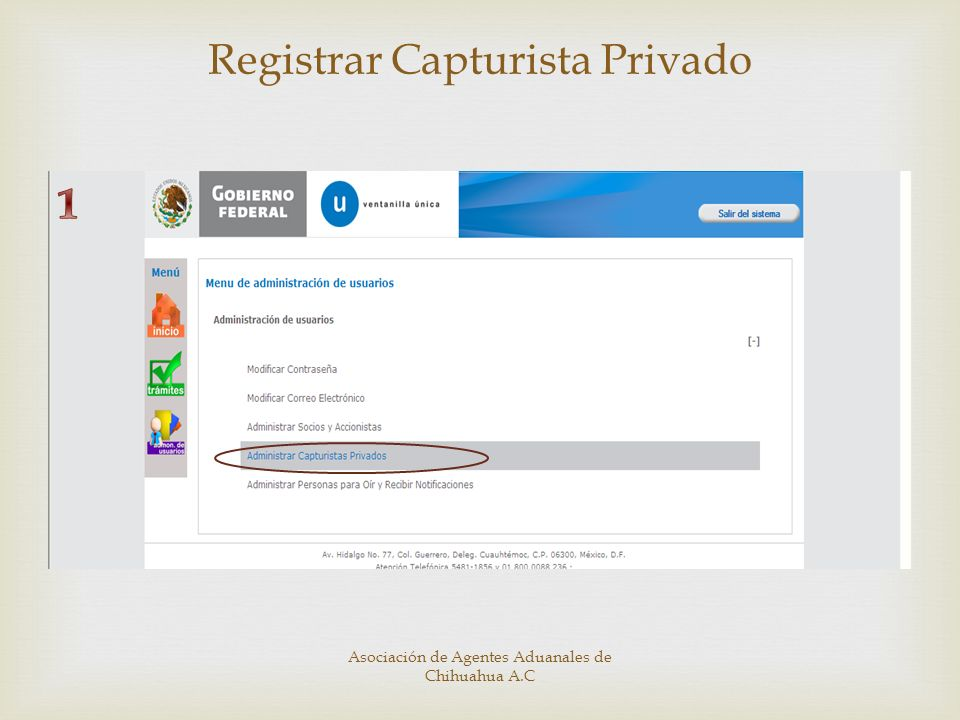 Registrar Capturista Privado