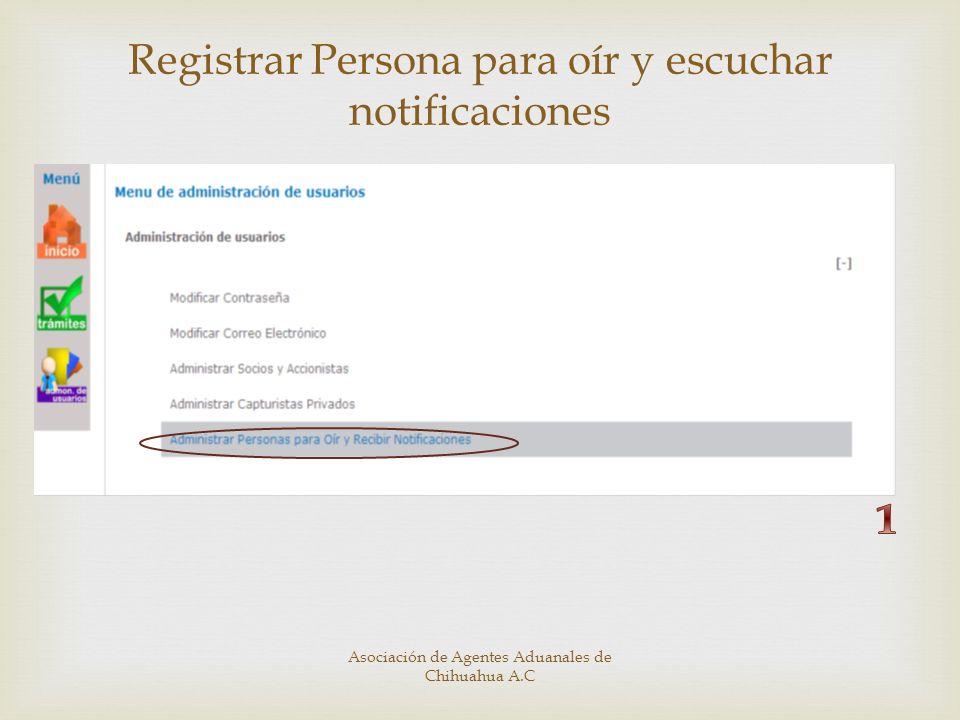 Registrar Persona para oír y escuchar notificaciones