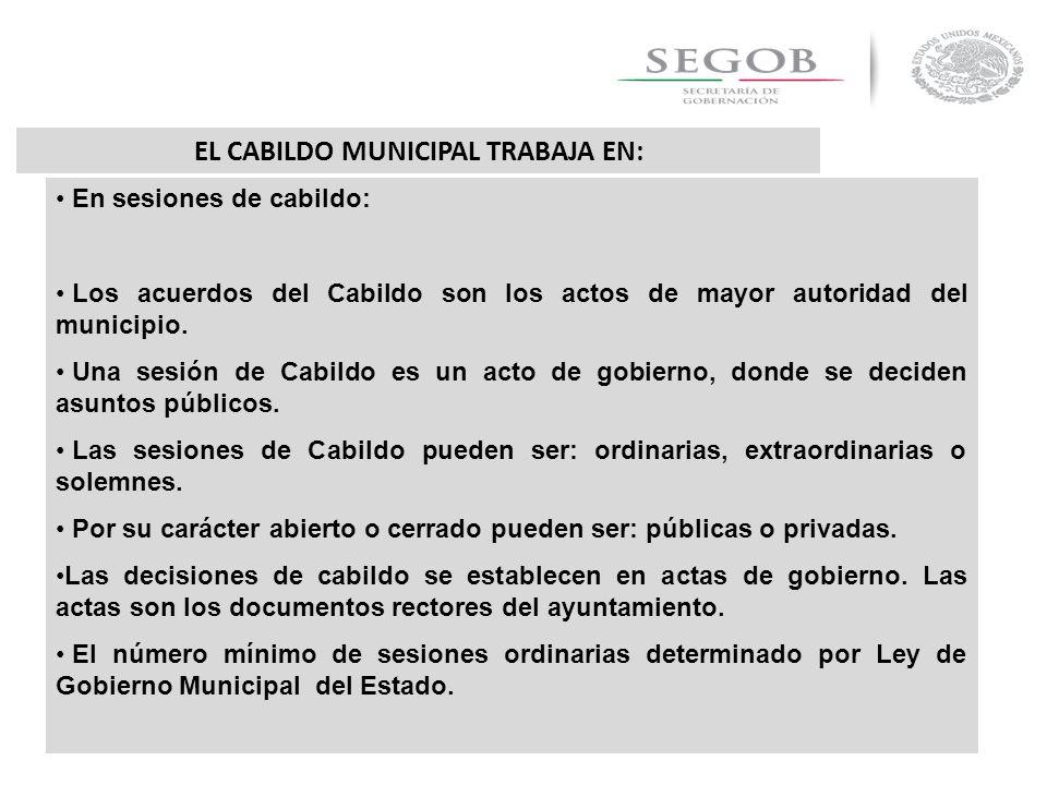 EL CABILDO MUNICIPAL TRABAJA EN: