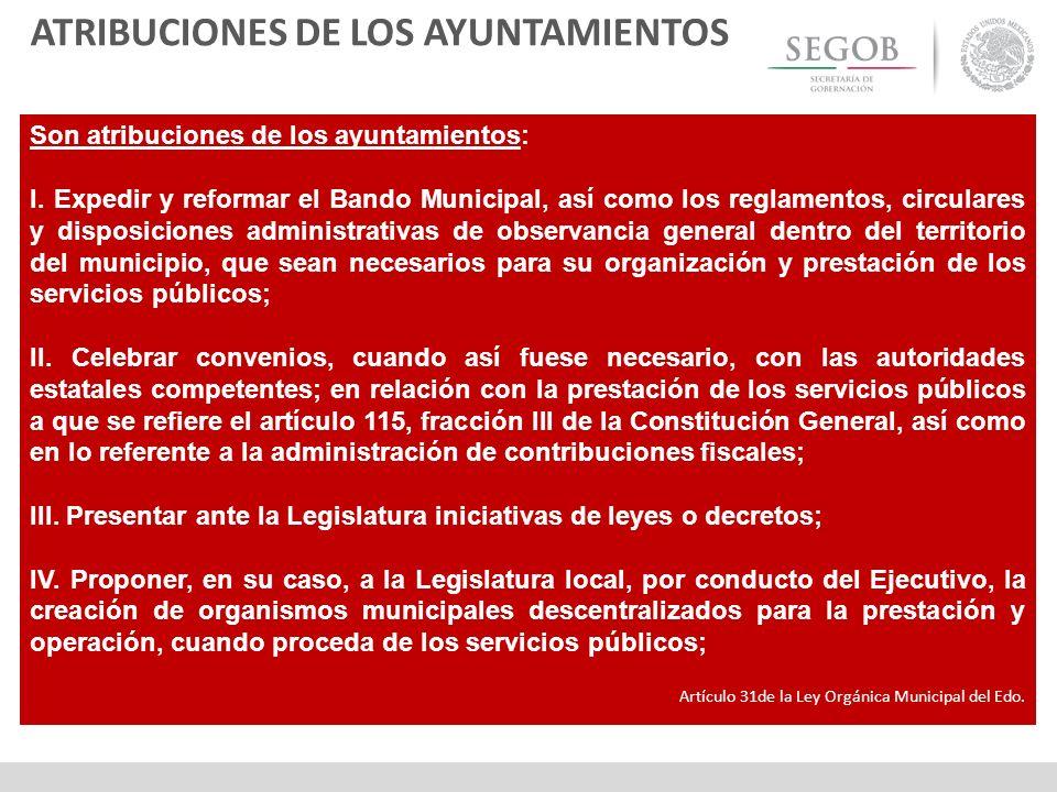 ATRIBUCIONES DE LOS AYUNTAMIENTOS