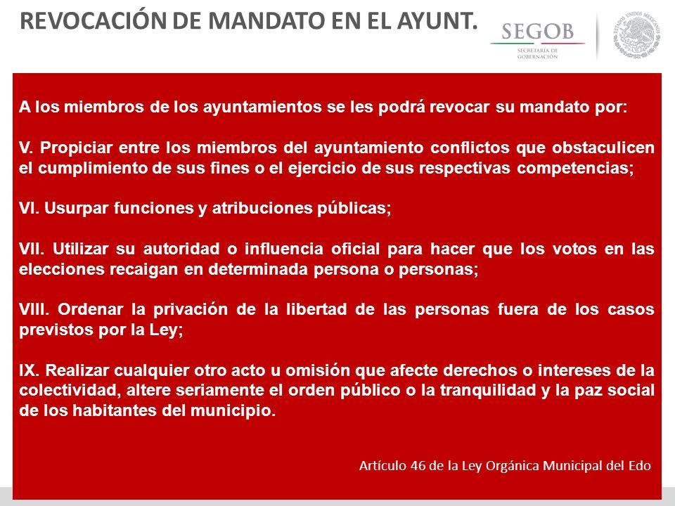 REVOCACIÓN DE MANDATO EN EL AYUNT.