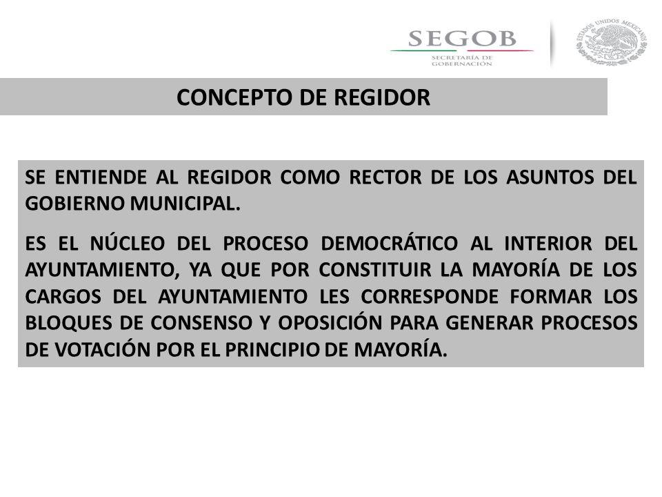 CONCEPTO DE REGIDOR SE ENTIENDE AL REGIDOR COMO RECTOR DE LOS ASUNTOS DEL GOBIERNO MUNICIPAL.