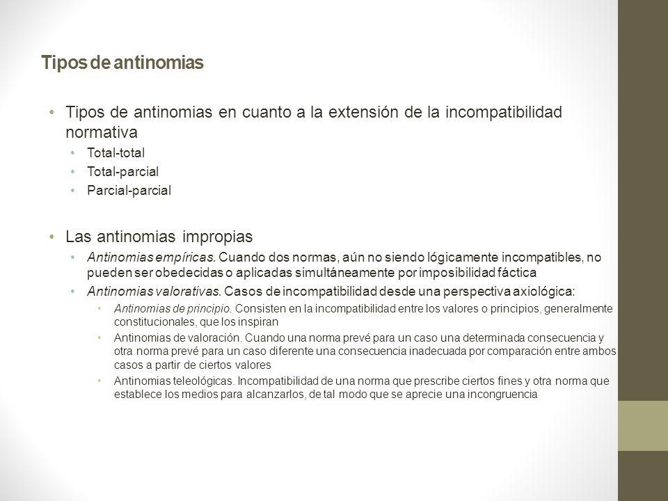 Tipos de antinomias Tipos de antinomias en cuanto a la extensión de la incompatibilidad normativa. Total-total.