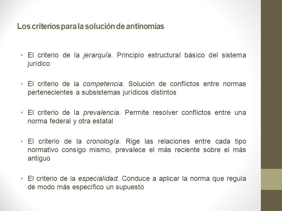 Los criterios para la solución de antinomias