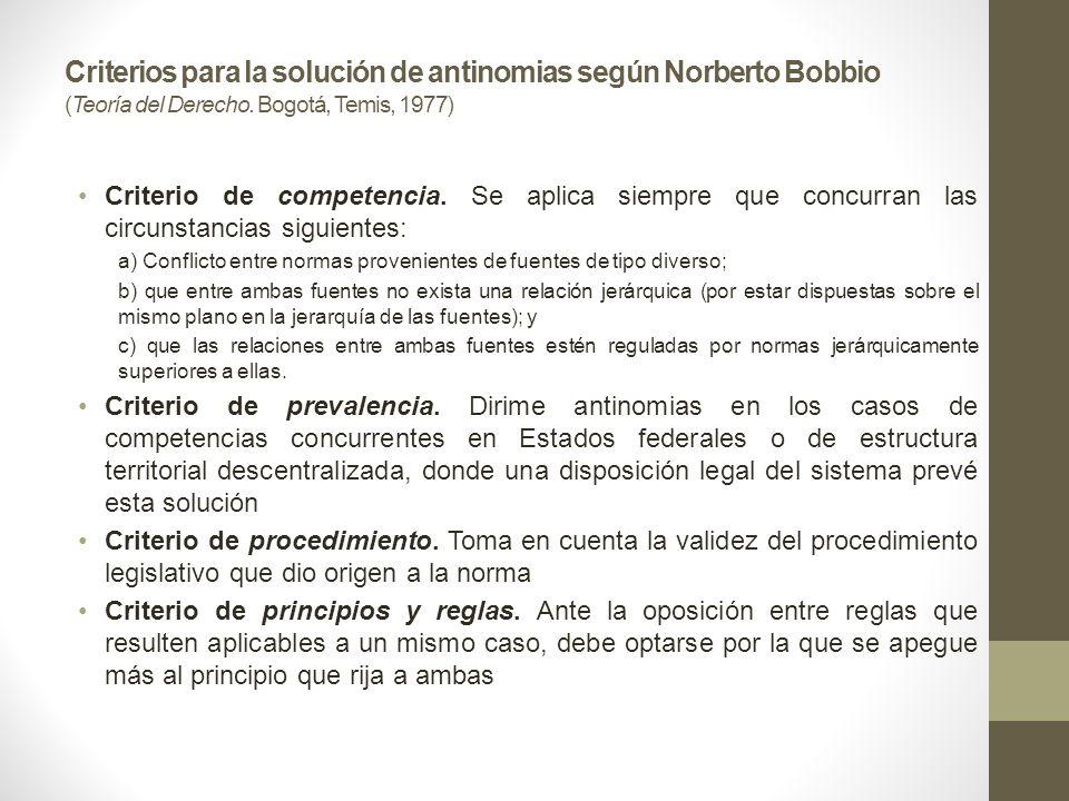 Criterios para la solución de antinomias según Norberto Bobbio (Teoría del Derecho. Bogotá, Temis, 1977)