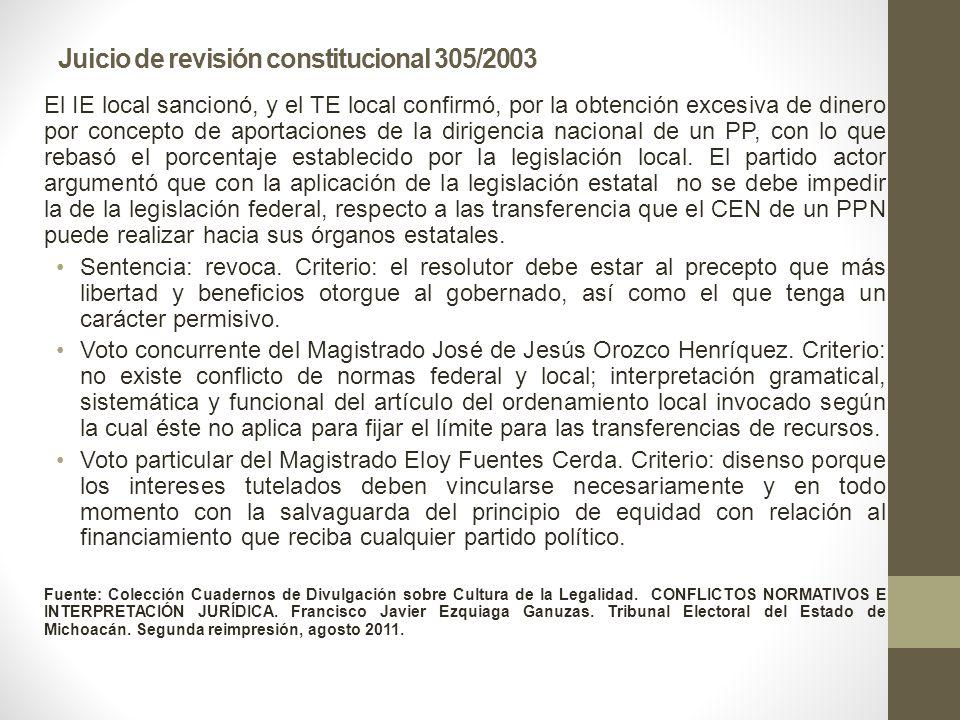 Juicio de revisión constitucional 305/2003