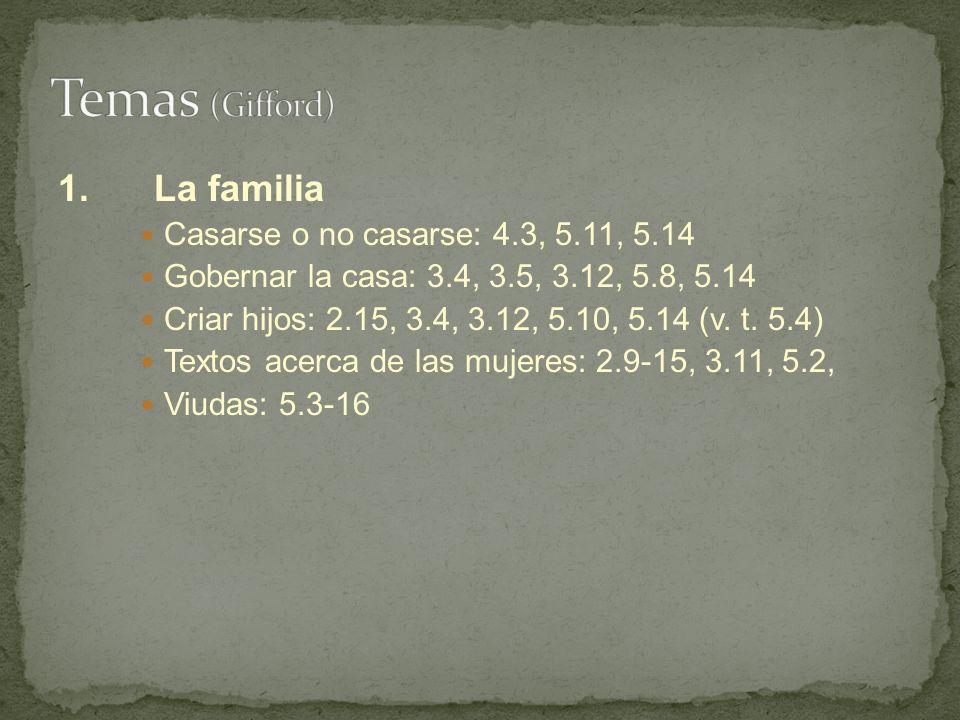 Temas (Gifford) 1. La familia Casarse o no casarse: 4.3, 5.11, 5.14