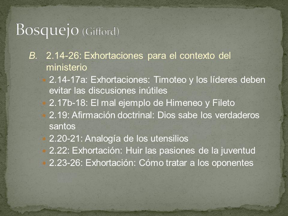 Bosquejo (Gifford) B. 2.14-26: Exhortaciones para el contexto del ministerio.
