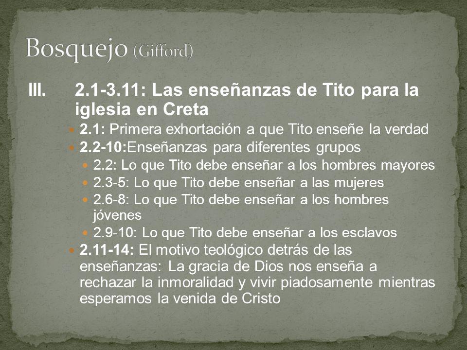 Bosquejo (Gifford) III. 2.1-3.11: Las enseñanzas de Tito para la iglesia en Creta. 2.1: Primera exhortación a que Tito enseñe la verdad.
