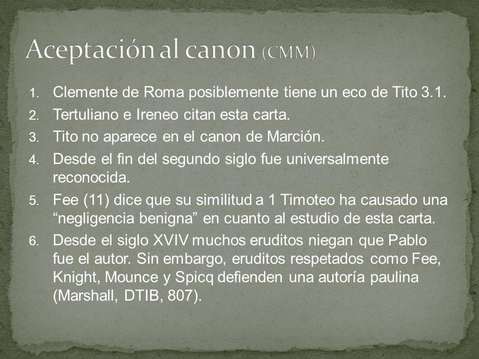 Aceptación al canon (CMM)