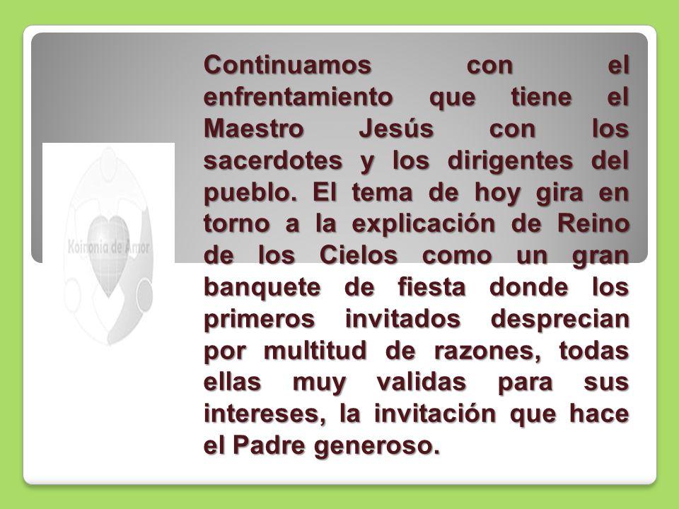 Continuamos con el enfrentamiento que tiene el Maestro Jesús con los sacerdotes y los dirigentes del pueblo.