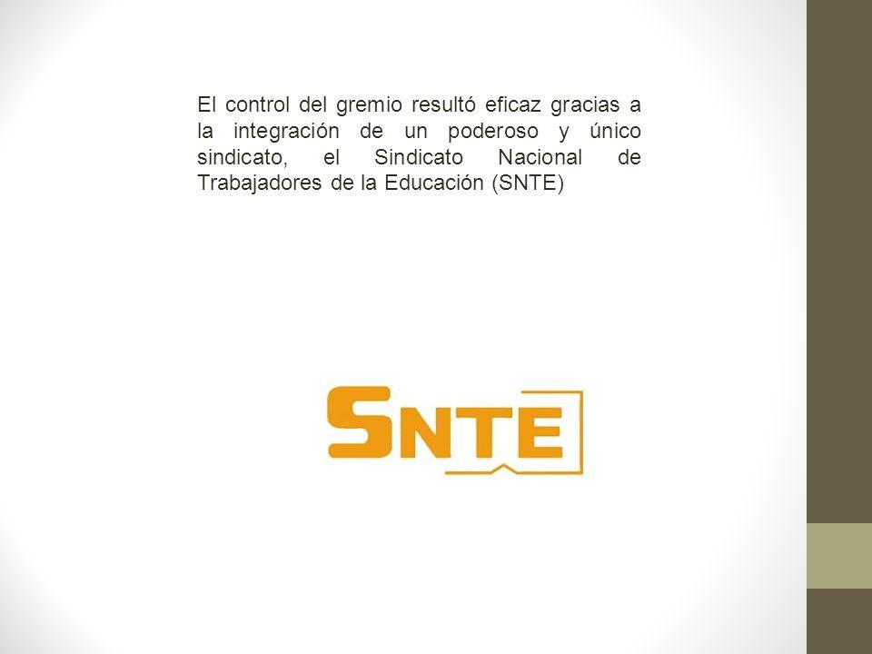 El control del gremio resultó eficaz gracias a la integración de un poderoso y único sindicato, el Sindicato Nacional de Trabajadores de la Educación (SNTE)
