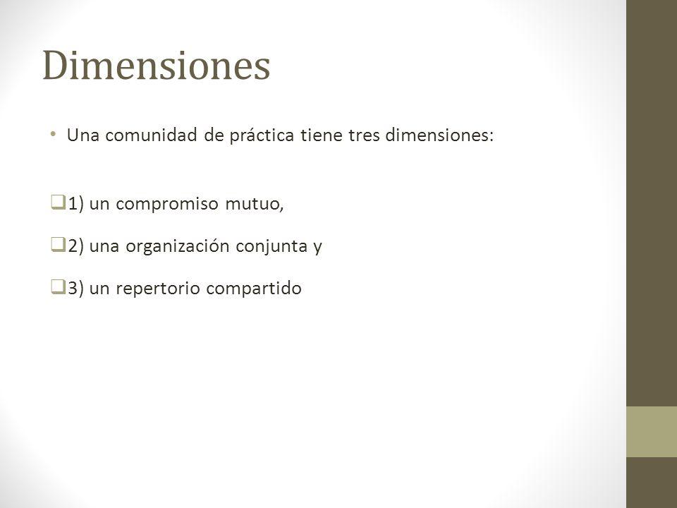 Dimensiones Una comunidad de práctica tiene tres dimensiones: