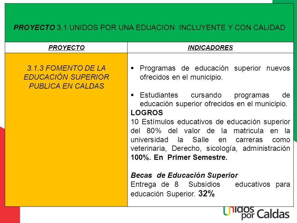 PROYECTO 3.1 UNIDOS POR UNA EDUACION INCLUYENTE Y CON CALIDAD