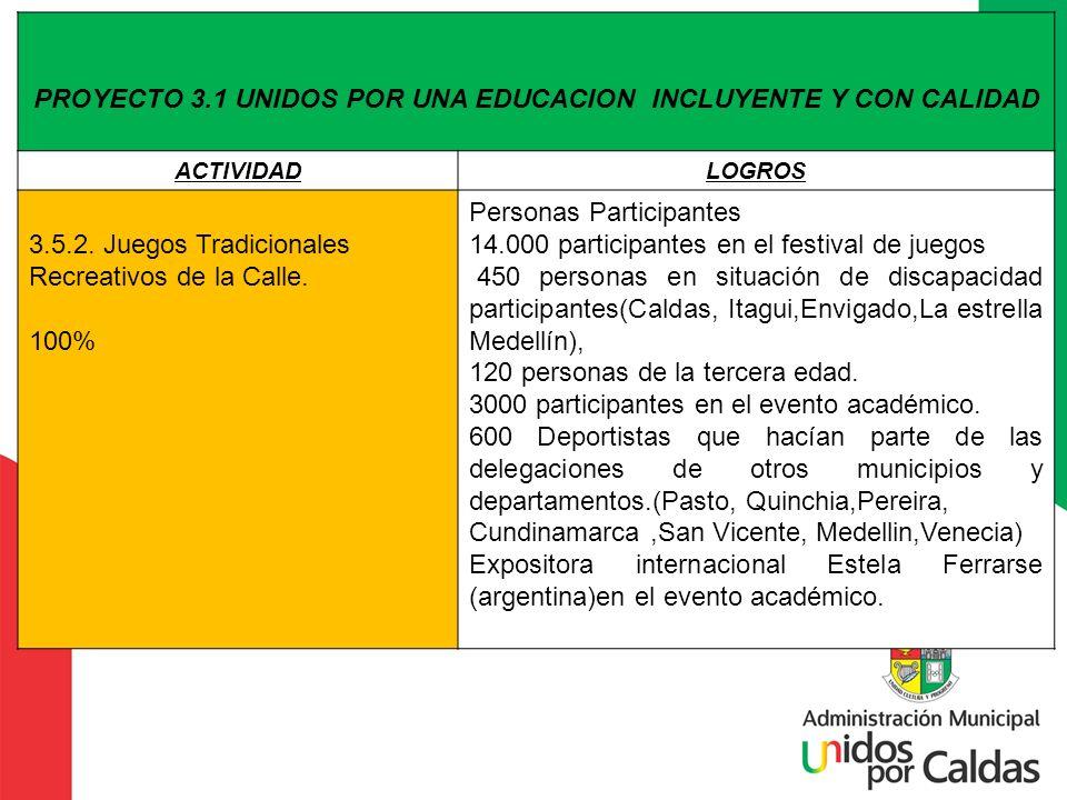 PROYECTO 3.1 UNIDOS POR UNA EDUCACION INCLUYENTE Y CON CALIDAD