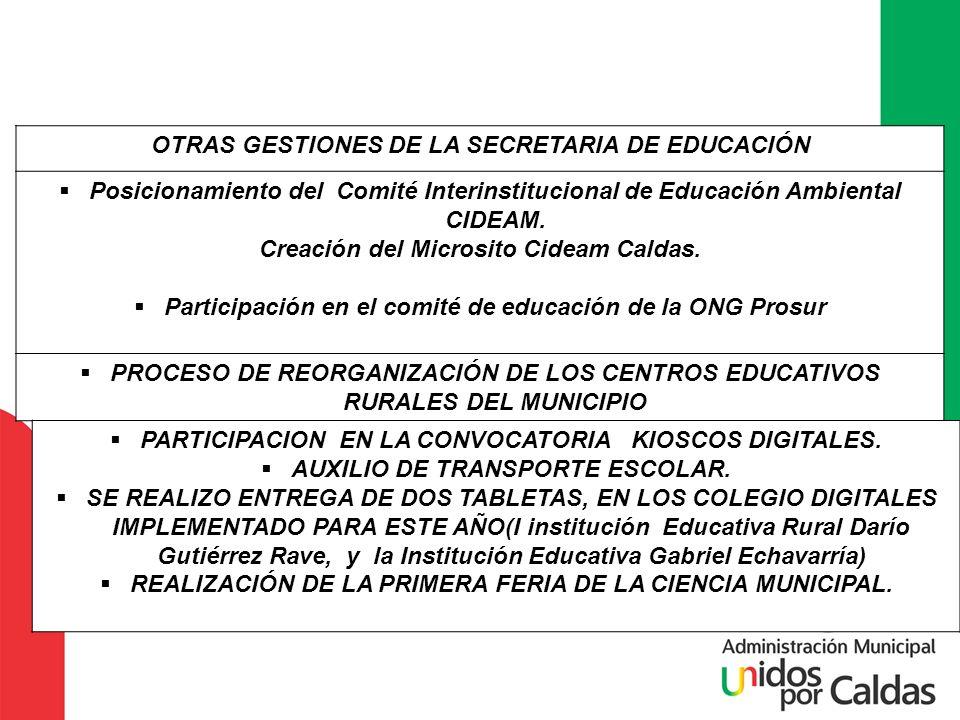 OTRAS GESTIONES DE LA SECRETARIA DE EDUCACIÓN