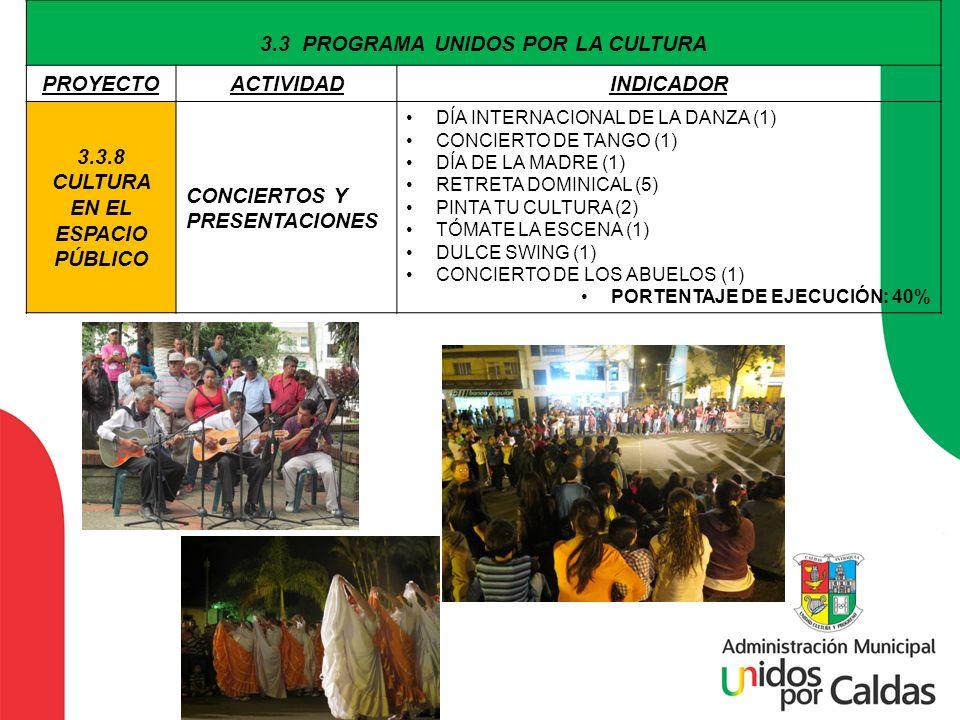 3.3 PROGRAMA UNIDOS POR LA CULTURA 3.3.8 CULTURA EN EL ESPACIO PÚBLICO