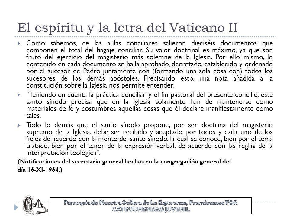 El espíritu y la letra del Vaticano II