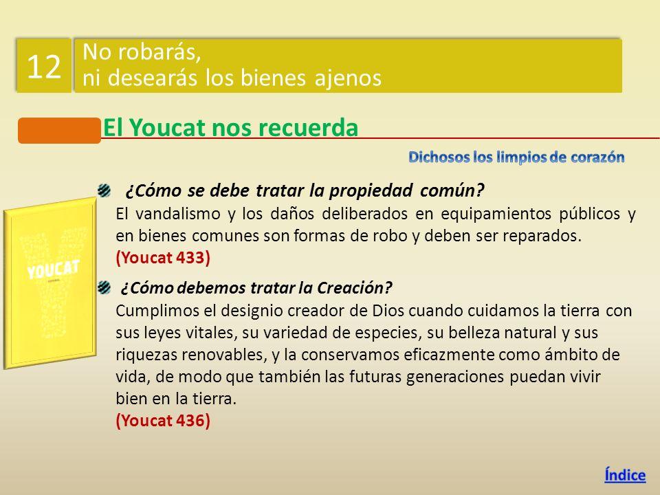12 El Youcat nos recuerda No robarás, ni desearás los bienes ajenos