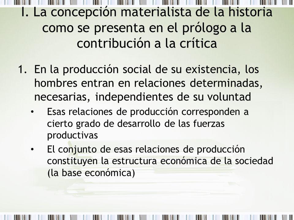 I. La concepción materialista de la historia como se presenta en el prólogo a la contribución a la crítica