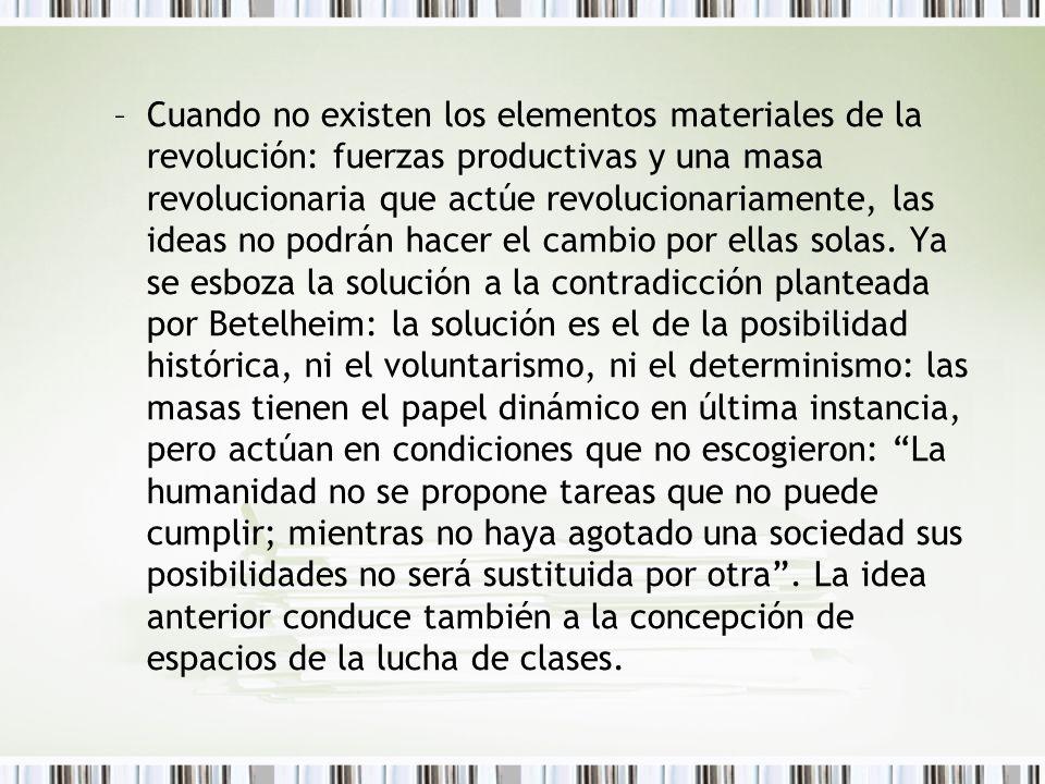 Cuando no existen los elementos materiales de la revolución: fuerzas productivas y una masa revolucionaria que actúe revolucionariamente, las ideas no podrán hacer el cambio por ellas solas.