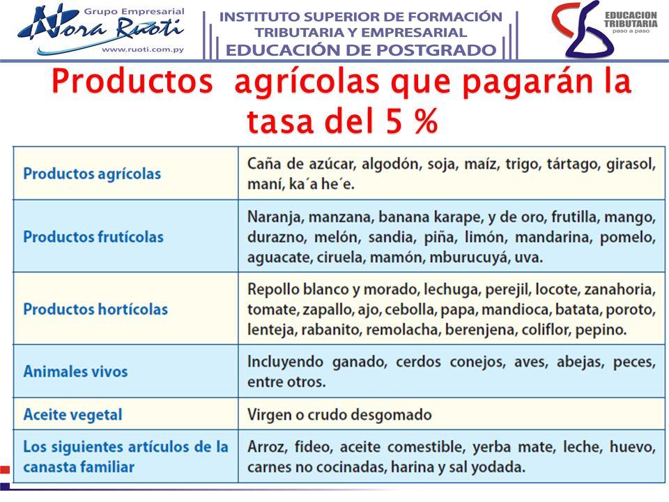 Productos agrícolas que pagarán la tasa del 5 %