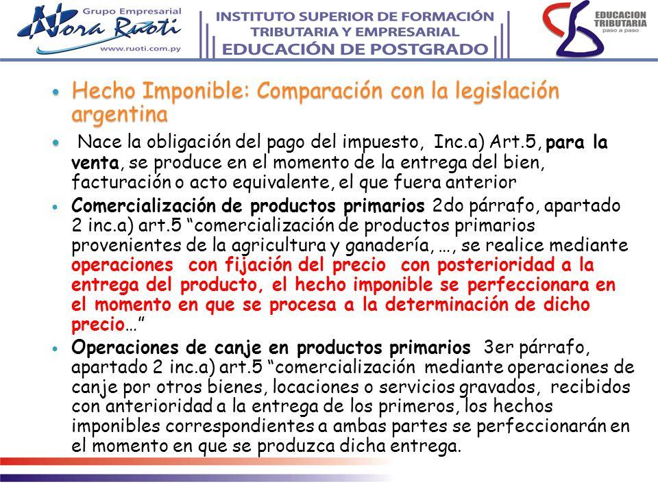 Hecho Imponible: Comparación con la legislación argentina