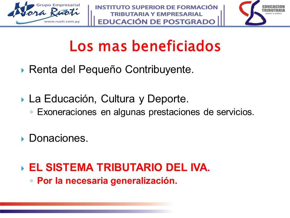 Los mas beneficiados Renta del Pequeño Contribuyente.