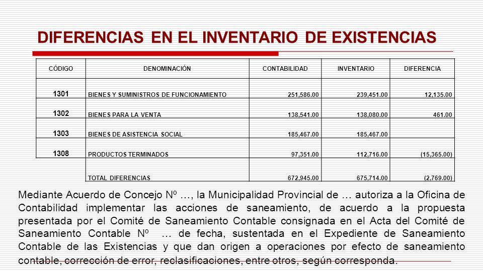 DIFERENCIAS EN EL INVENTARIO DE EXISTENCIAS