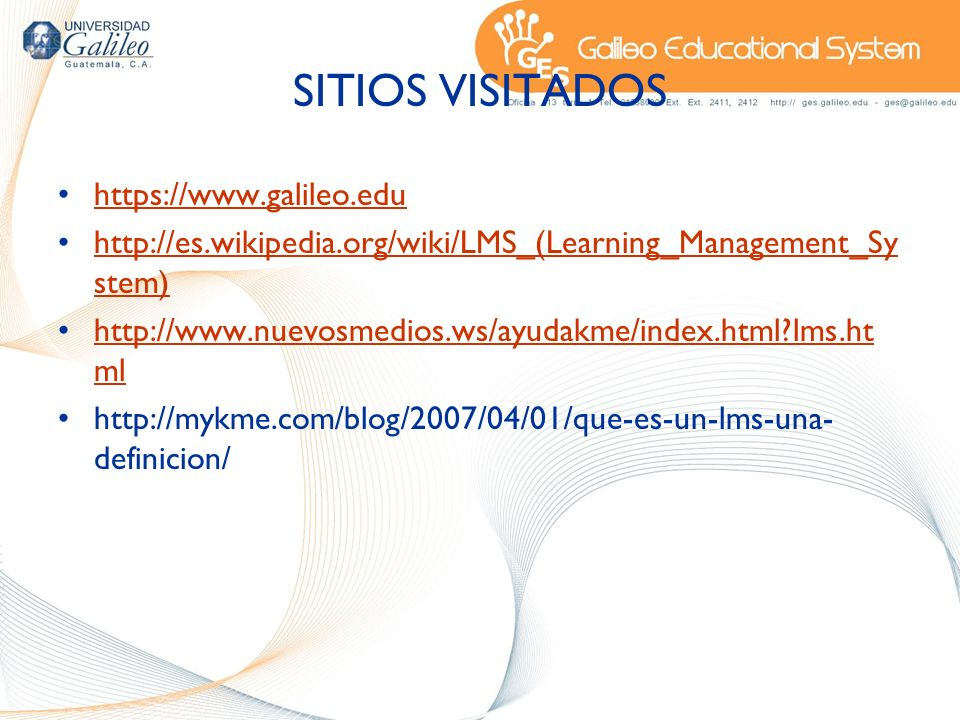SITIOS VISITADOS https://www.galileo.edu