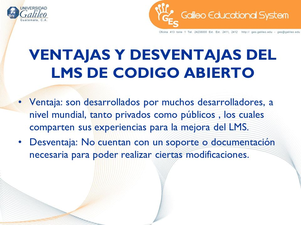 VENTAJAS Y DESVENTAJAS DEL LMS DE CODIGO ABIERTO