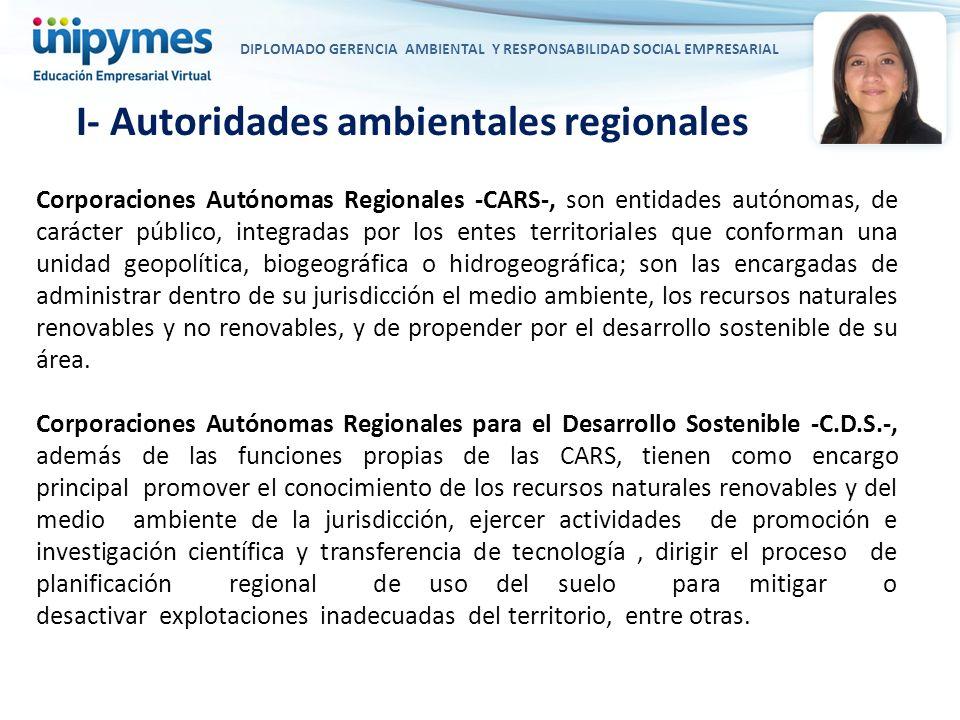 I- Autoridades ambientales regionales