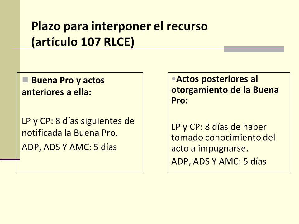 Plazo para interponer el recurso (artículo 107 RLCE)