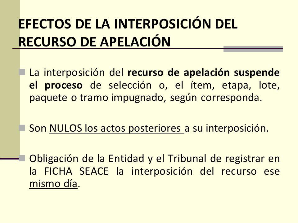 EFECTOS DE LA INTERPOSICIÓN DEL RECURSO DE APELACIÓN
