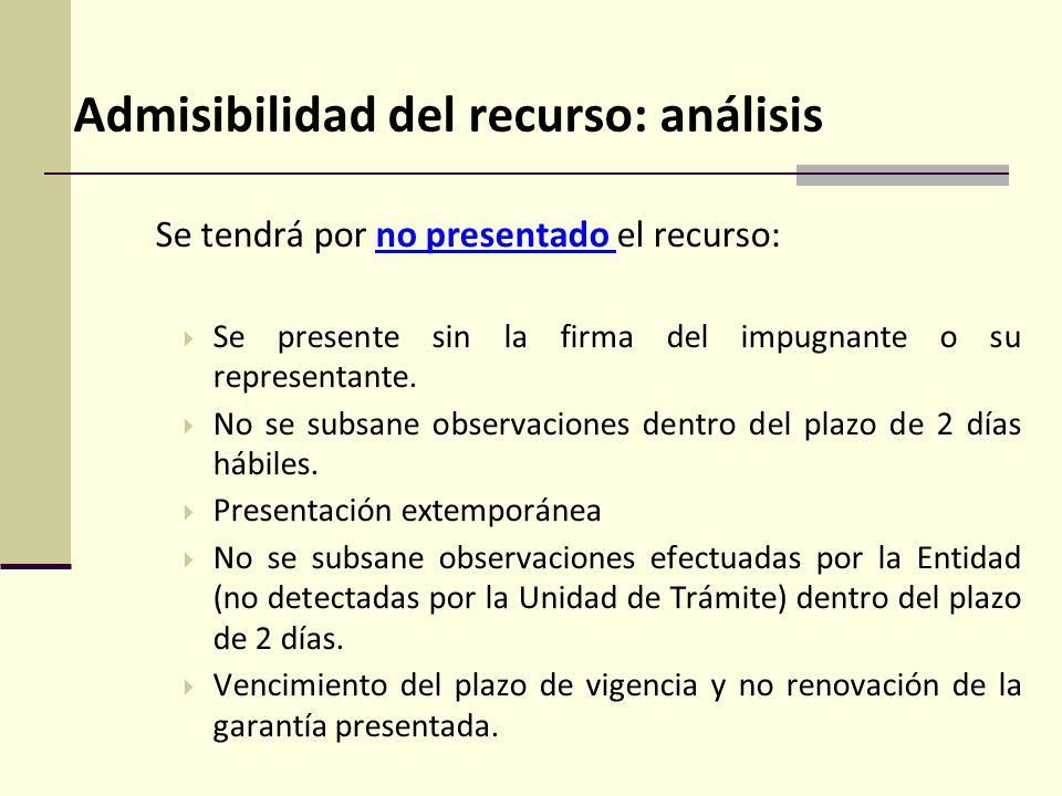 Admisibilidad del recurso: análisis