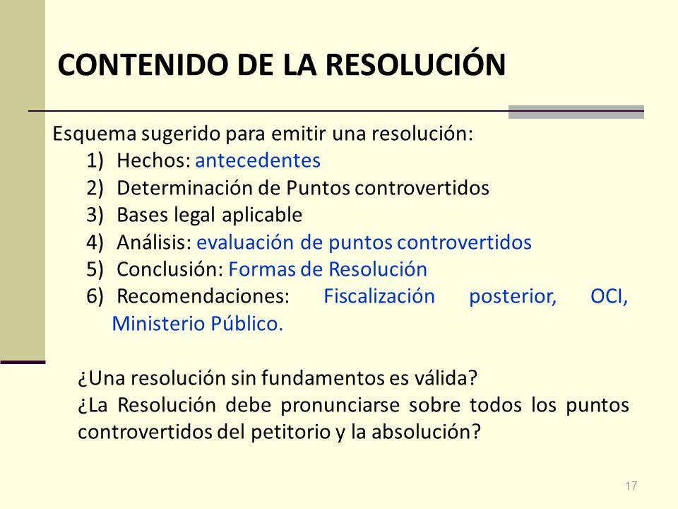 CONTENIDO DE LA RESOLUCIÓN