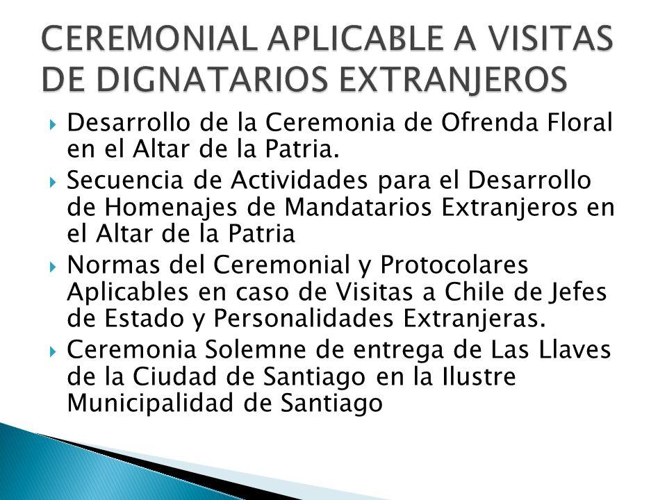 CEREMONIAL APLICABLE A VISITAS DE DIGNATARIOS EXTRANJEROS