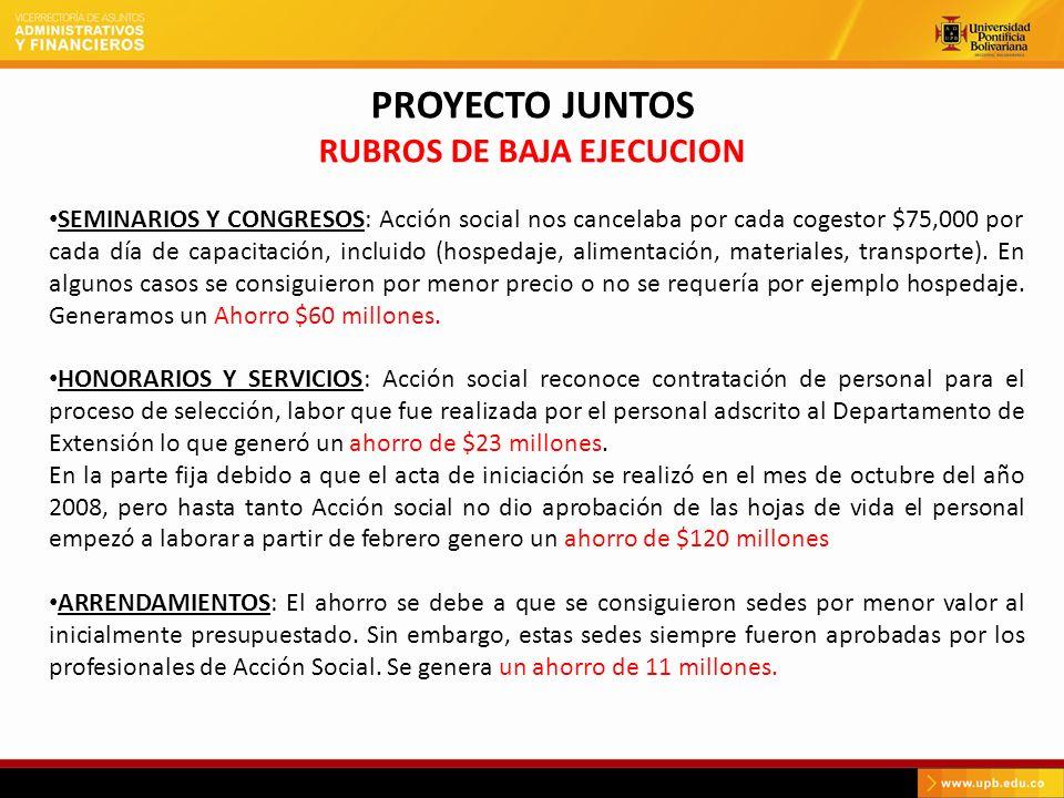 PROYECTO JUNTOS RUBROS DE BAJA EJECUCION